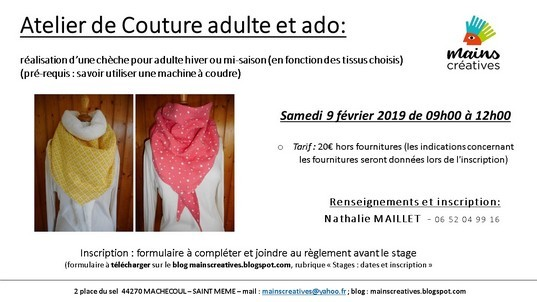 stage couture, adulte, enfant, ado